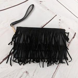 Handbags - Black fringe clutch